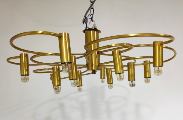 Vintage brass flush mount chandelier, 1970s