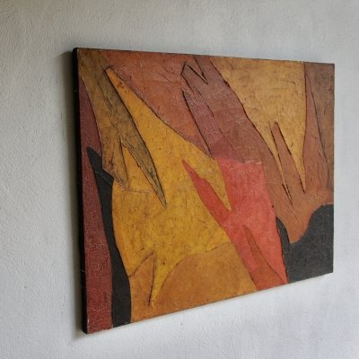 French Oil On Canvas Abstract Painting, 1964