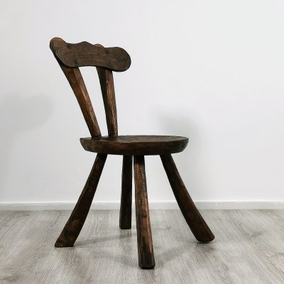Hand Carved Brutalist Oak Chair, 1970s