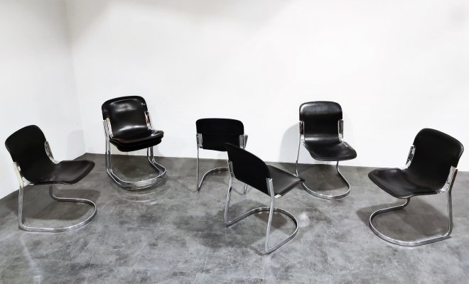 Set of 8 Vintage 'C2' dining chairs by Willy Rizzo for Cidue, 1970s