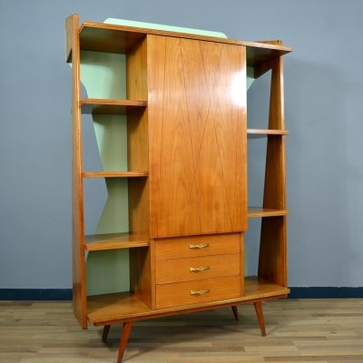 Beech tree Italian wall unit with a central shutter & drawers ,1950's