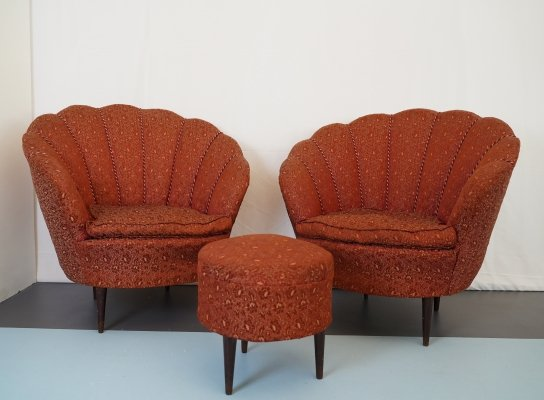 Set of two armchairs & one ottoman, Italy 50s