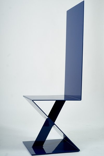 Electric Blue highback chair, Italy 1980