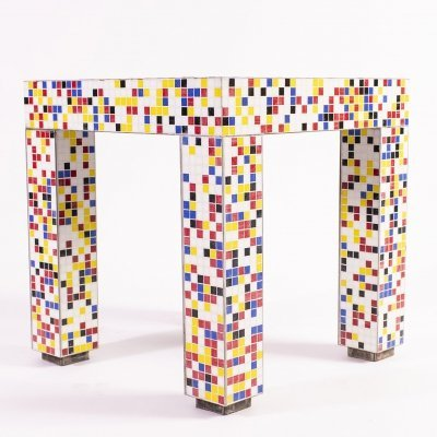 Antalya Table covered in 'Bisazza' mosaic, designed by Aldo Cibic in 1994