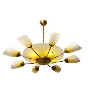 White & yellow huge 16 point glass chandelier by Meissen, Germany 1960s