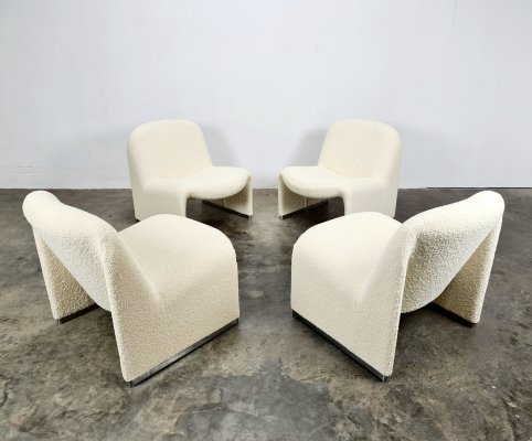 Creme bouclé Alky chair by Giancarlo Piretti for Artifort, 1970s