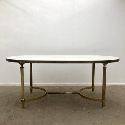 Vintage Italian marble & brass dining table, 1950s