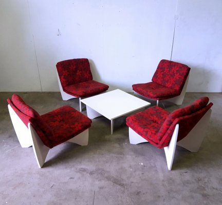 Mid century modern plywood seating group, 1960s