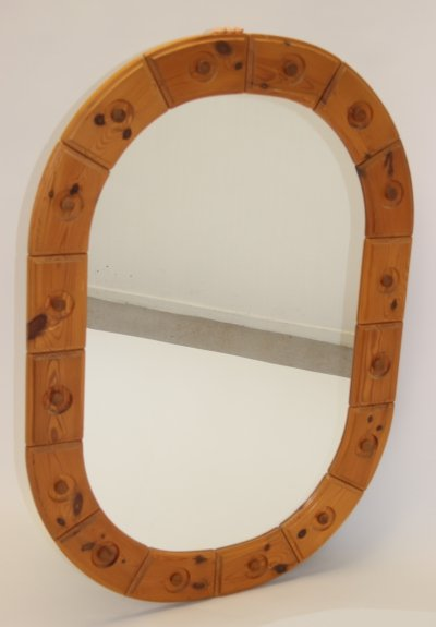 Large brutalist pinewood mirror, 1970s