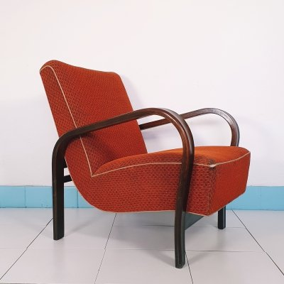 Pair of rare bentwood armchairs HF-11 by Jindrich Halabala