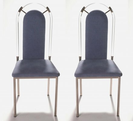 Pair of Lucite & gunmetal chairs by Maison Jansen, 1970s