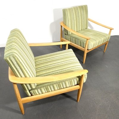 Pair of Carl Straub 'Goldfeder' Armchairs in green-yellow striped Upholstery, 1960s
