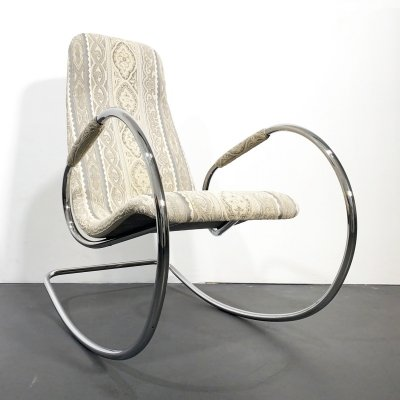 Tubular Steel Rocking Chair Model 826 by Ulrich Böhme for Thonet, Germany 1970s