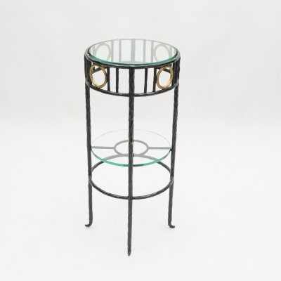 Rare signed gilded wrought iron gueridon table by Garouste & Bonetti, 1995