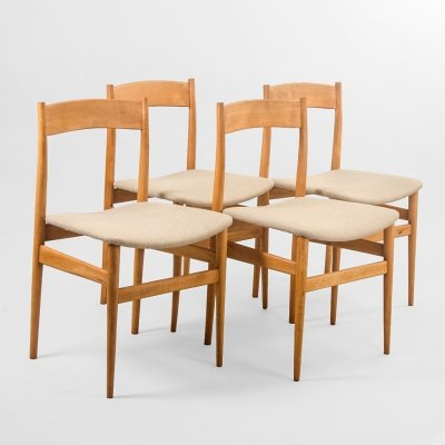 Set of 4 Danish dining chairs in beech, Denmark 1960's