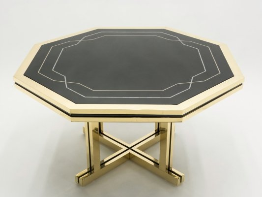 Unique black lacquer & brass Maison Jansen dining table, 1970s