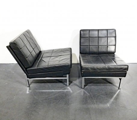 Pair of Easy Chairs in Black Leather & Chromed Steel Frame, Germany 1970s