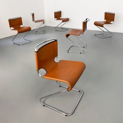 Set of 6 Leather & Chrome 'Biscia' Chairs by Pascal Mourgue, France c.1960