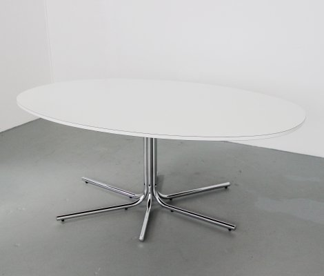 White Melamine & Chrome 'Biscia' Dining Table by Pascale Mourgue, France c.1960