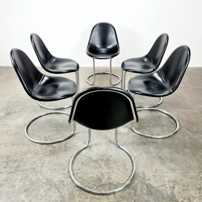 Set of 6 black leather Maia chairs by Giotto Stoppino for Bernini, 1970s