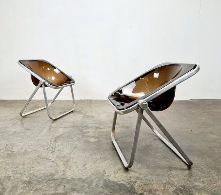 2 smoked acrylic Plona folding chairs by Giancarlo Piretti for Castelli, 1970s