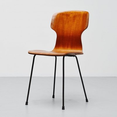 Carlo Ratti side chair in plywood by Legni Curva, Italy 1950