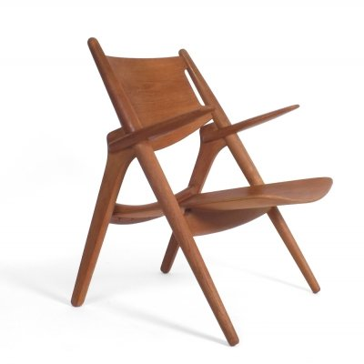 CH28 Sawbuck arm chair by Hans Wegner for Carl Hansen & Søn, 1960s