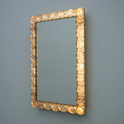 Illuminated Mirror In Crystal Glass & Brass by Palwa, 1960s