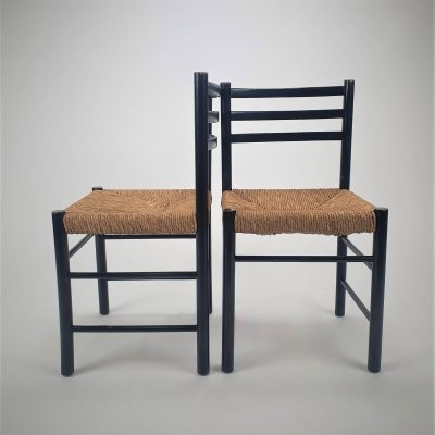 Set of 2 Black & Straw Modernist Side chairs, 1960s