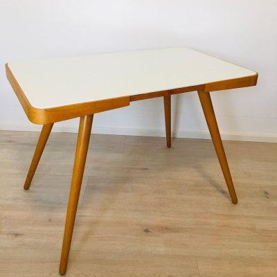 Coffee table with white opaline glass by Interier Praha, 1950s