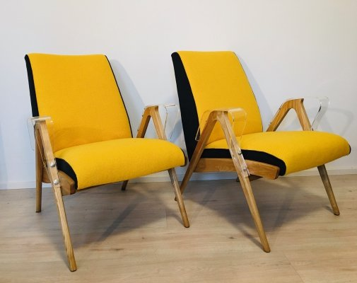 Pair of Armchairs with Plexiglass Armrests by Tatra Nabytok, 1960s