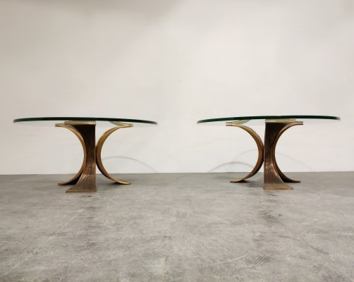 Brutalist bronze coffee tables or side tables, 1970s