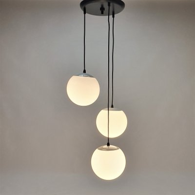 Vintage Hanging lamp with 3 White Globes, 1970s