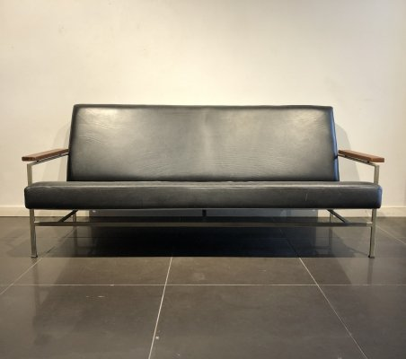 Modernist Black Leather Sofa by Rob Parry for Gelderland, 1960s
