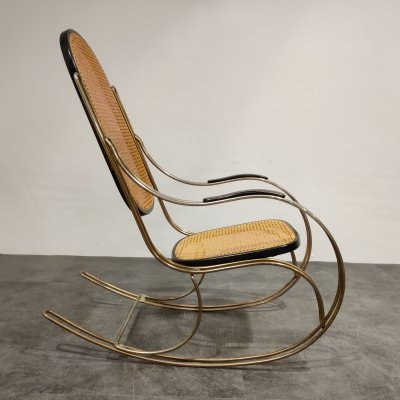 Vintage chrome & rattan rocking chair, 1960s