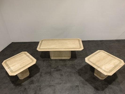 Vintage travertine coffee table & side tables, 1980s