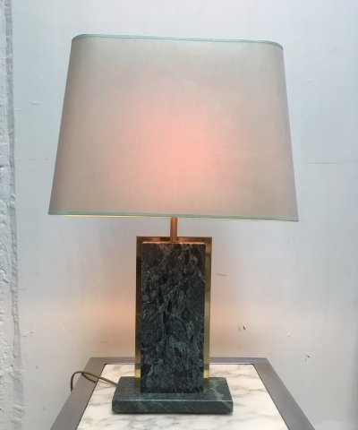 Green marble table lamp with original shade