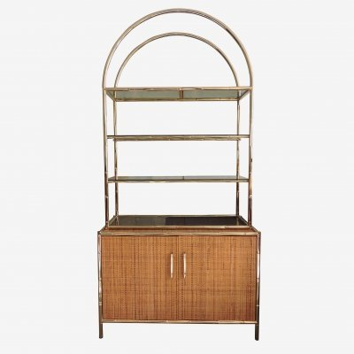 Brass Bamboo & Glass Shelving Unit on Cane Sideboard, 1960s