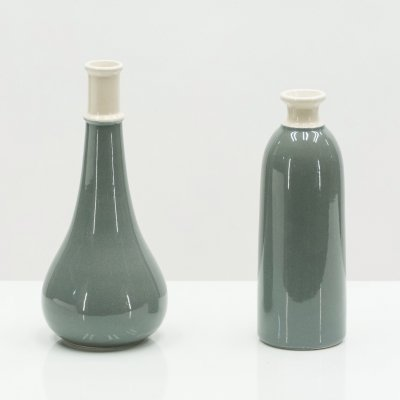 Set of two Mid Century Italian grey ceramic vases, 1960s