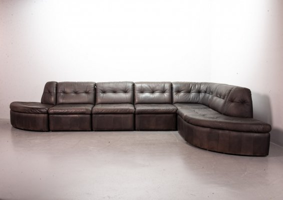 Brown Patched Leather 7 elements Modular Sofaset by Laauser, Germany 1970s