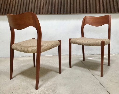 Danish Teakwood Chairs Model 71 by Niels O. Møller for J.L. Møllers, 1960s