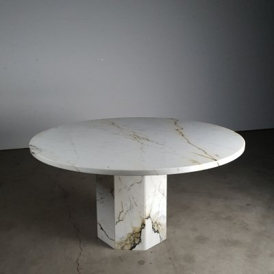 Round Paonazza marble table, 1970s
