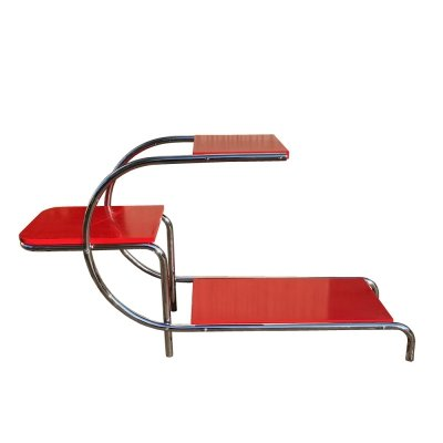 Bauhaus red chromed tubular steel etagere, 1950s