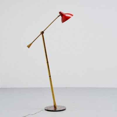 Stilnovo floor lamp with marble base Italy, 1950