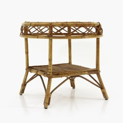 Rattan coffee table with round top, 1950s