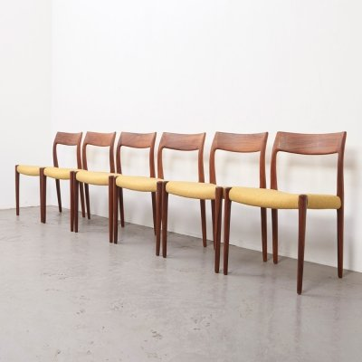 Set of 6 Rosewood Model 77 Dining Chairs by Niels Otto Moller for J.L. Mollers, 1959