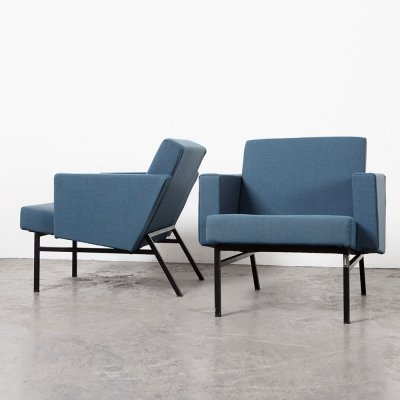 Rare Pair of SZ34 Ijzendijke Easy Chairs by Martin Visser for 't Spectrum, 1958