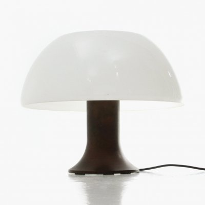 Table lamp in burnished copper & white methacrylate diffuser, 1960s