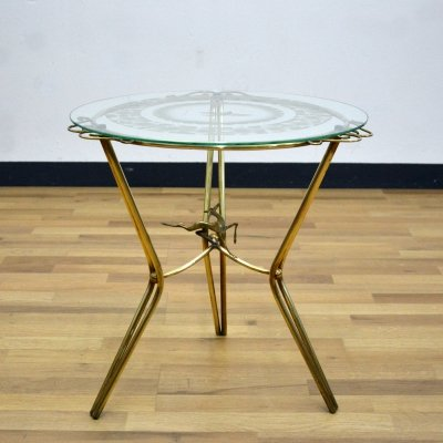 Italian Brass & Glass Coffee Table, 1950's