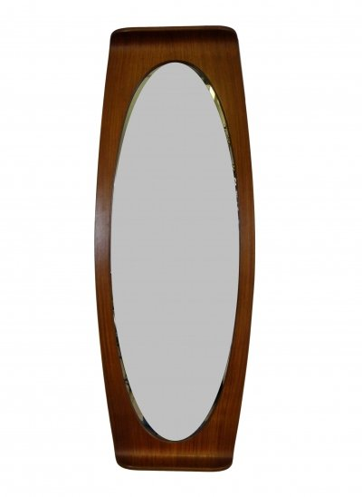 Oval teak wood Mirror by Campo & Graffi for Home, signed 1950s